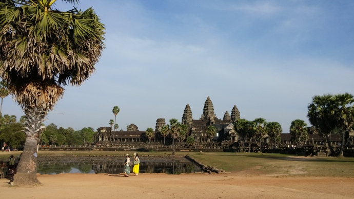 Looking across the lake towards the Angkor Wat temple.