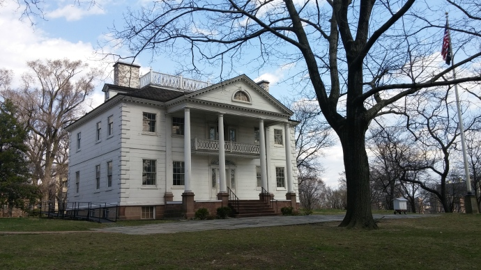 The façade of the Morris-Jumel Mansion, built in 1765.