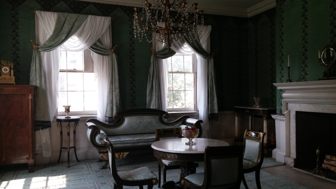 In this parlor, in 1833, a 77-year-old Aaron Burr married a wealthy 19-year-old widow.