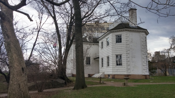 The rear of the house, featuring the octagonal drawing room that was used for entertaining.