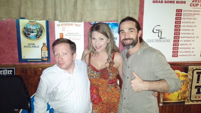 Me with Jenn and Colin, the amazing co-hosts of the karaoke show I attended at the Clock Tower Lounge in Rapid City