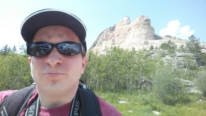 A selfie of me with the Crazy Horse Memorial.