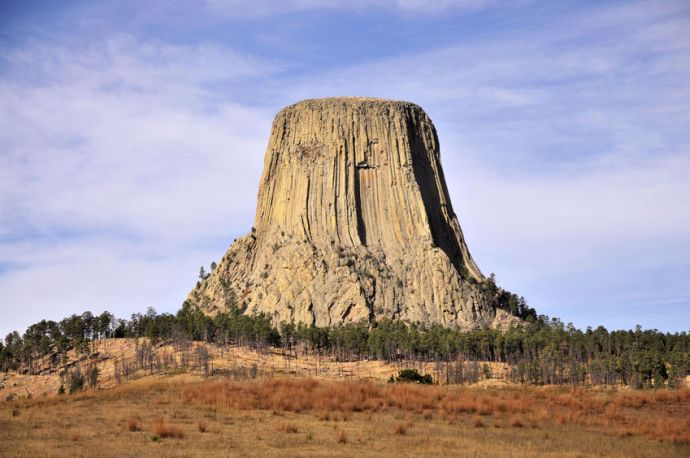 Stock photo of Devils Tower National Monument in Wyoming, 107 miles from Rapid City.