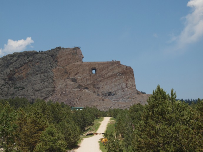Crazy Horse in profile, as seen from the visitor's center. In the foreground, a herd of cattle can be seen crossing the road.