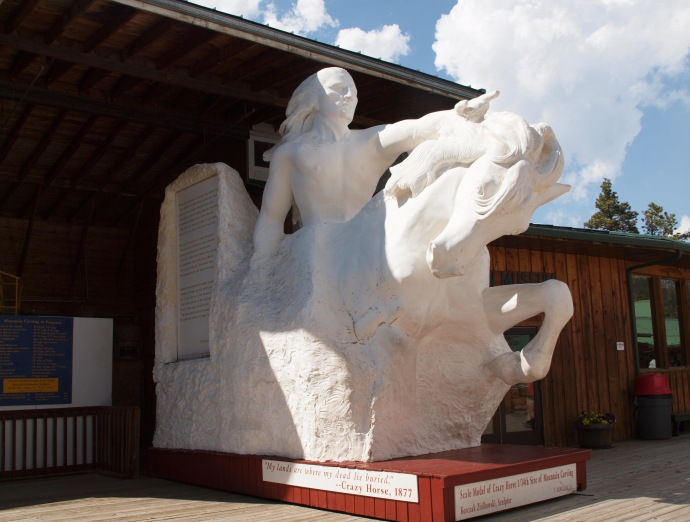 This model, on display outside the visitor's centre, shows how the finished Crazy Horse Memorial will appear.