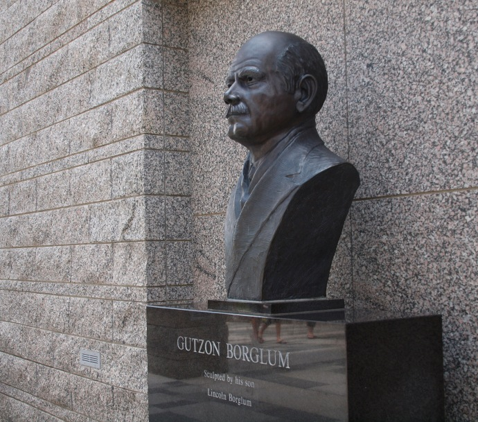 This bust of sculptor Gutzon Borglum welcomes visitors to the Shrine of Democracy.