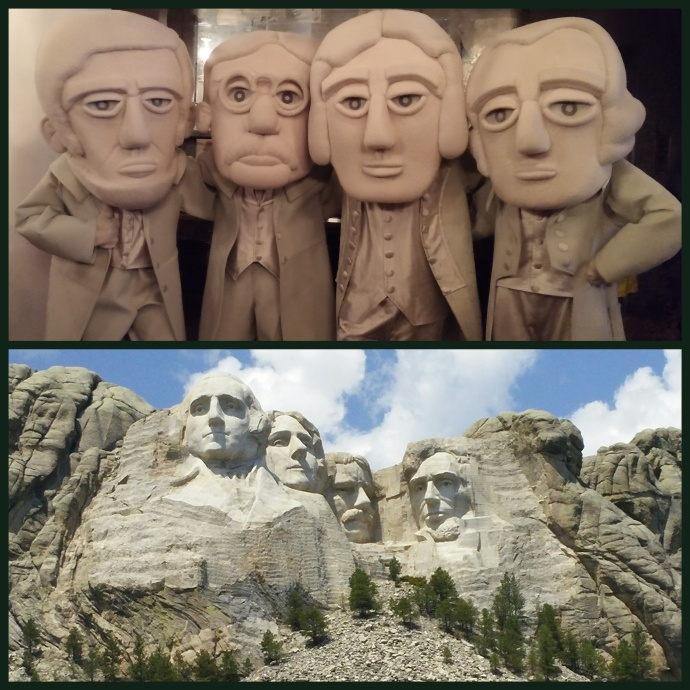 At the top half of this diptych are the quartet of Presidents of Mount Rushmore, as they appeared at the Travel Massive meetup in NYC. The lower portion shows the Presidents as they actually appeared on the historic mountain. Can you tell the difference? :)