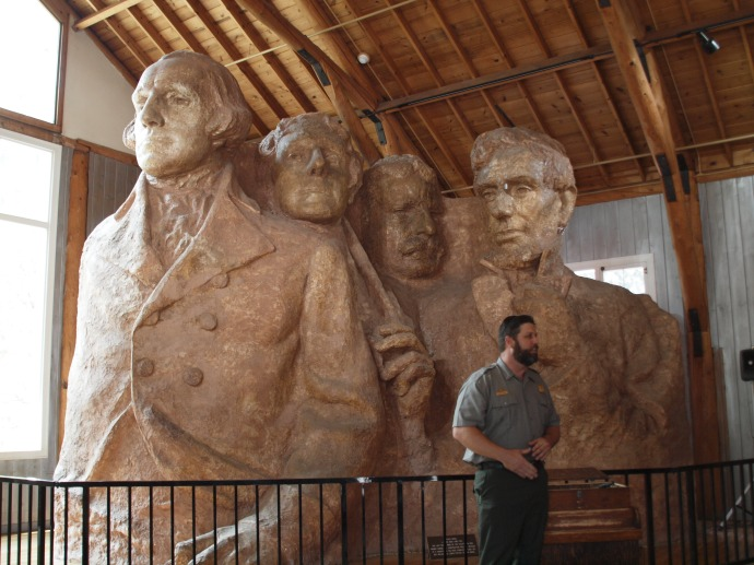 Borglum's models of the Presidents inside his studio show how he intended them to appear on the mountain.