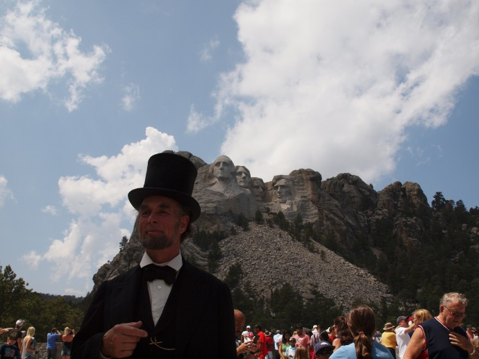 A re-enactor of Abraham Lincoln.