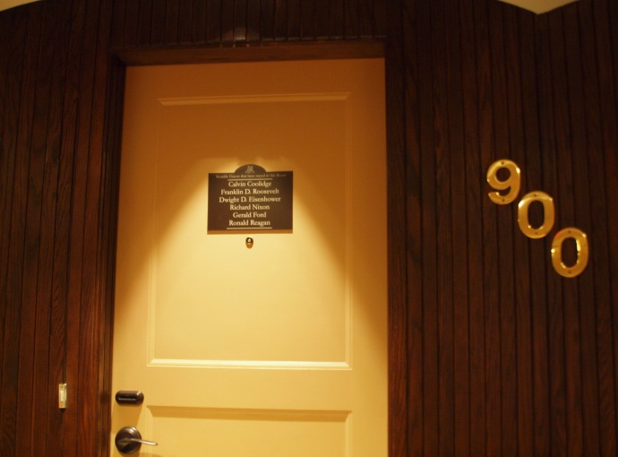 A plaque on the door to the Alex Johnson hotel's Presidential Suite identifies the six American Presidents who've stayed in that suite.