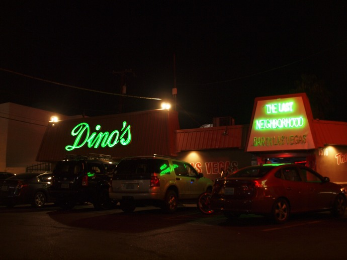 The exterior of Dino's, the karaoke bar that I ended up at in Las Vegas. Not visible in this view are most of the many motorcycles that were in the parking lot.