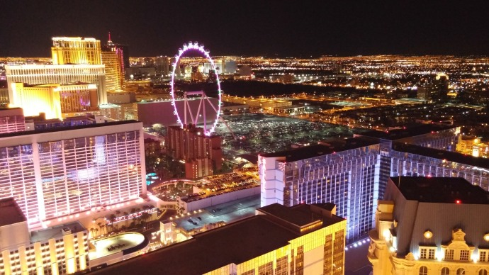 A view towards the northeast, featuring the giant observation wheel, the High Roller.