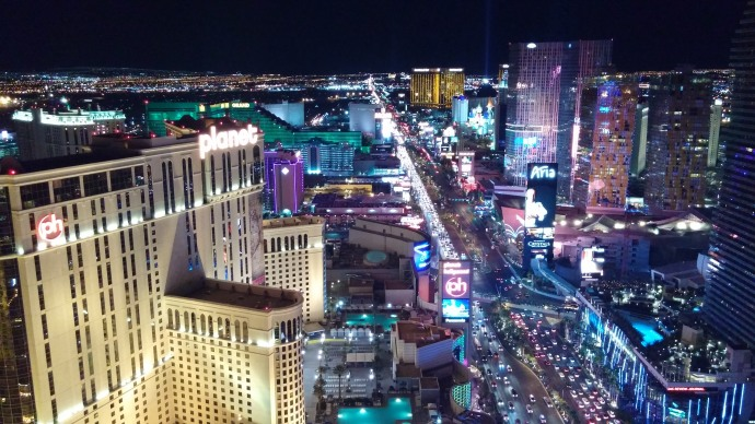 Looking south along the Strip from the Eiffel Tower's observation deck.