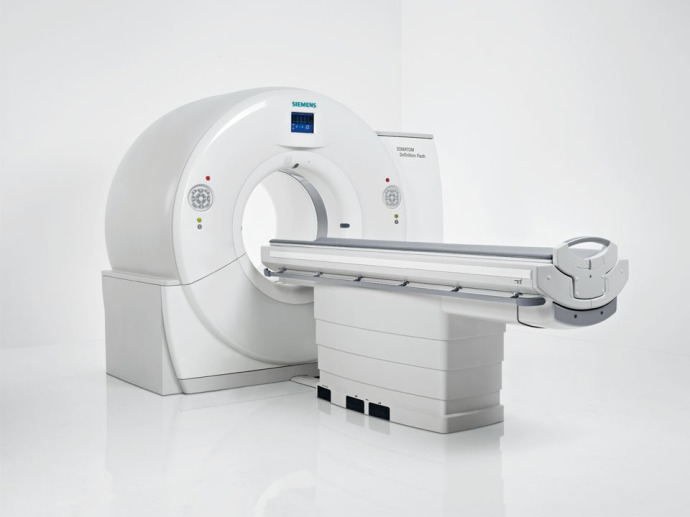A Siemens CT-scan machine, similar to the one in which I underwent my CT-scan today.