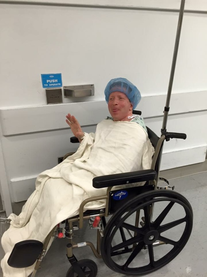 Me about to get a ride into the operating room for my surgery.
