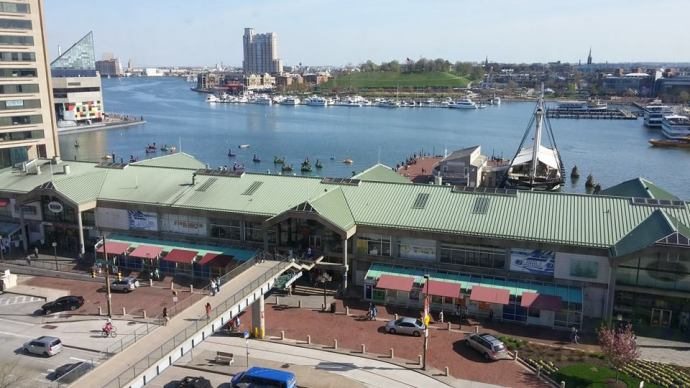 "A view towards Baltimore's Inner Harbour, as seen from my hotel room during my previous visit to ""Charm City"" in April 2015."