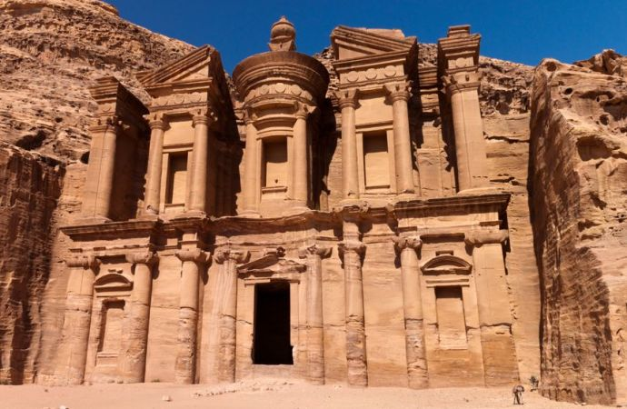 Stock photo of the ruins of a monastery at the Petra archaeological site in Jordan.