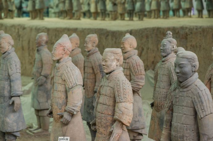 Stock photo of a portion of the army of terracotta warriors in Xi'an, China. Buried in a gigantic pit in the third century B.C., they were found in 1974.