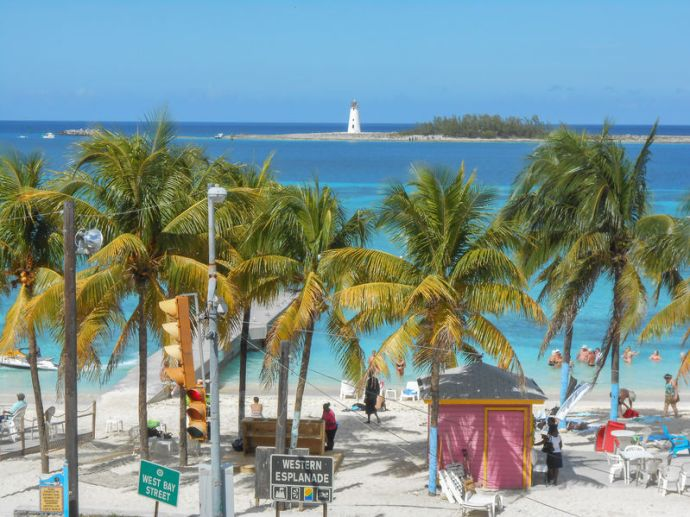 Stock photo of a beach in Nassau, Bahamas.