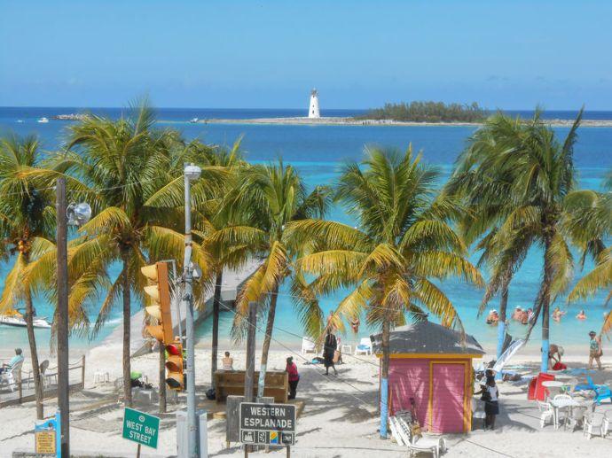 Stock photo of a beach in Nassau, Bahamas.