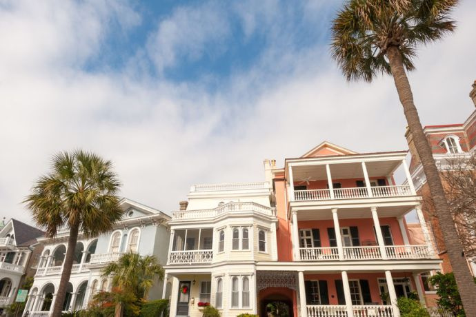 Stock photo of some historic homes in Charleston, South Carolina.