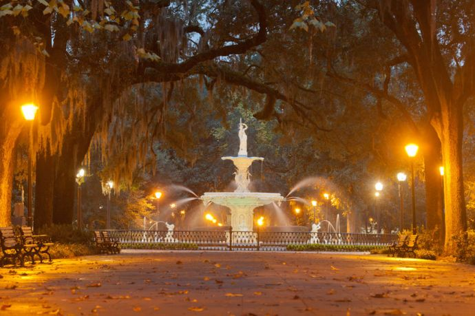 Stock photo of the iconic fountain in Forsyth Park, in the historic district of Savannah. The fountain was installed in 1858.