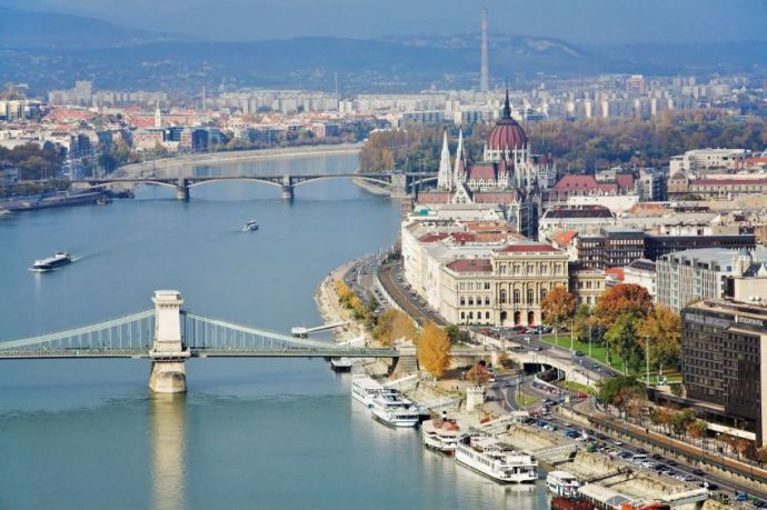 Stock photo showing a view of Budapest.