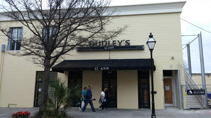The exterior of Dudley's on Ann, the venue where I made my South Carolina karaoke debut!
