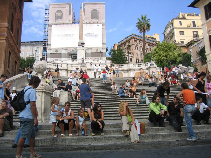 Looking up the Spanish Steps in 2004