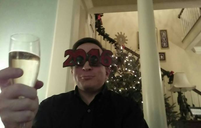 Selfie of me toasting the arrival of 2016 at Charlotte and Boyd's New Year's shindig.