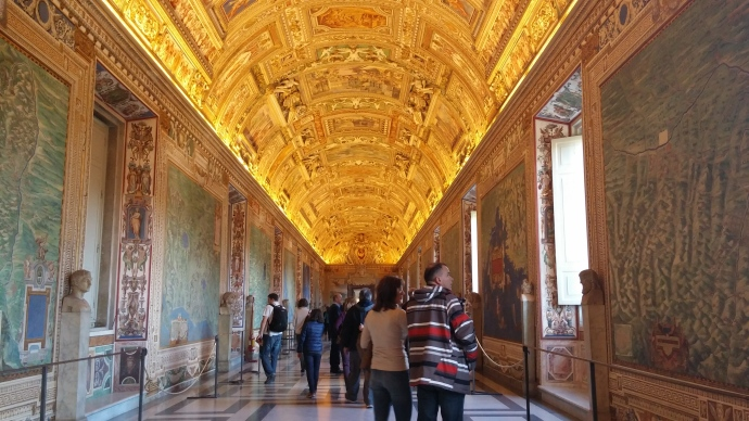 A gilded ceiling surmounts this dazzling corridor in the Vatican Museums.