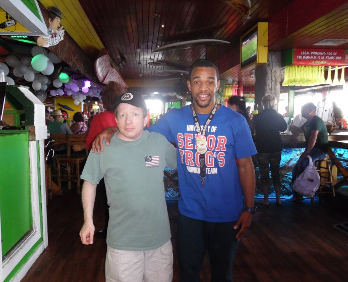 Me with Anfernee, the DJ at Señor Frog's in Nassau who hooked me up with the karaoke.
