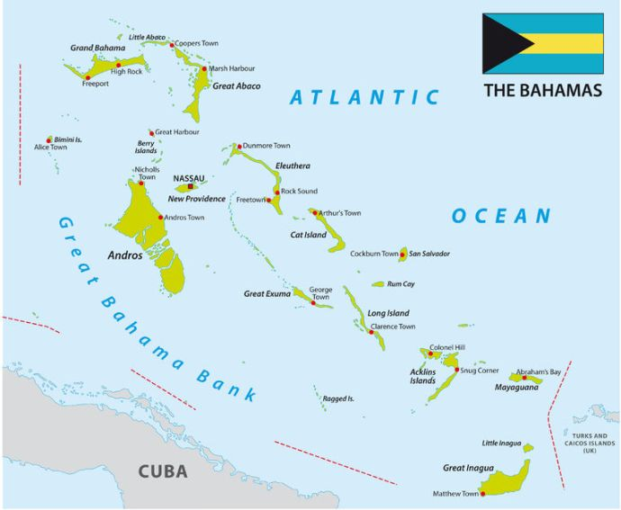 A map of the Bahamas.
