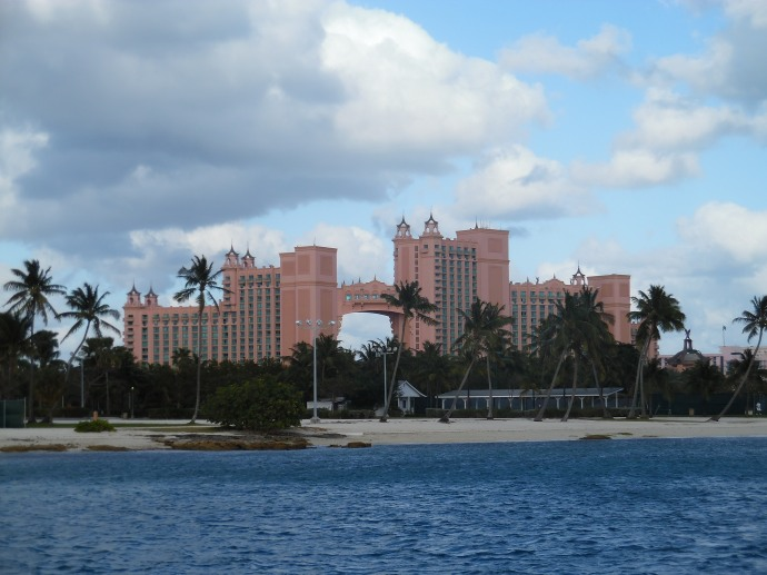 The hotel towers of the Atlantis resort on Paradise Island, as seen from the ferry in Nassau Harbour.