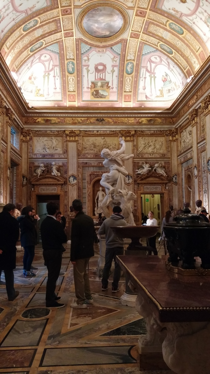 One of the galleries inside the Galleria Borghese.