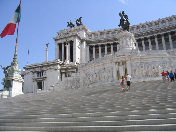 Looking up the grand staircase in the front off the Vittorio Emanuel II Monument, in 2004.