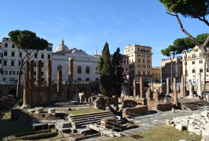 Over 2,000 years after Julius Caesar's murder, you can still gaze upon the spot where it happened!