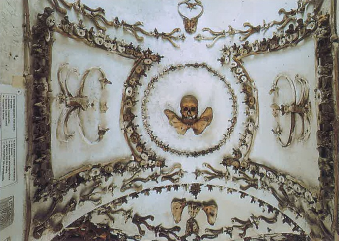 Artfully arranged bones in the Capuchin Crypt.