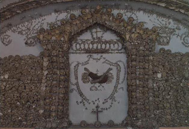 Another chamber with bones decoratively arranged in the Capuchin Crypt.