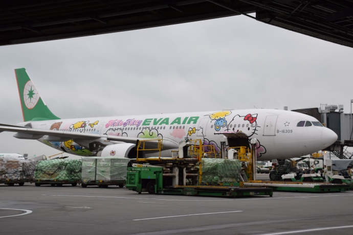 An EVA Airl Hello Kitty jet at Taoyuan International Airport.