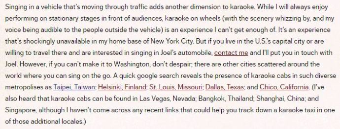 Here's an excerpt from a post I published on this blog in March 2015, in which I named Taipei as a city that had a karaoke taxi!