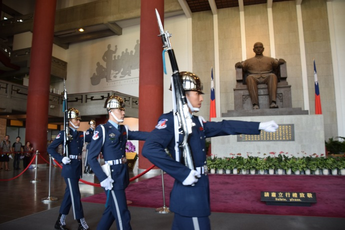 The changing of the guard in Sun Yat-sen Memorial Hall in Taipei.