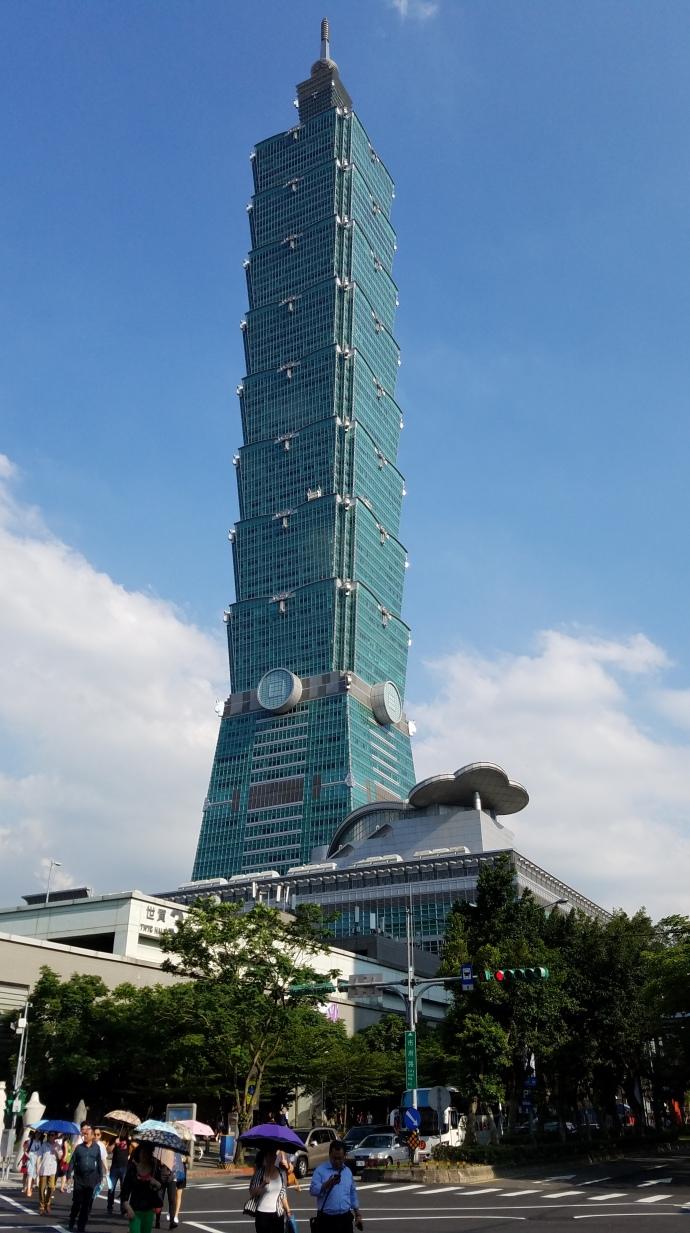 Taipei 101, viewed from street level.