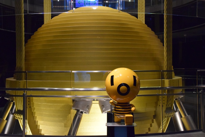 "The wind damper, with a mascot called the ""Damper Baby"" in front of it."