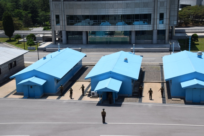 North Korean soldiers marching in the Demilitarized Zone (DMZ) between North Korea and South Korea.