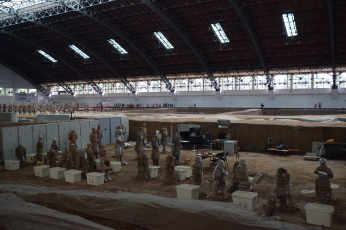 Inside the second pit, far fewer soldiers are on display, and restoration work is ongoing.