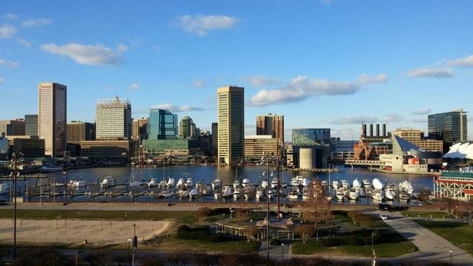 The downtown Baltimore skyline on a cold day in January.