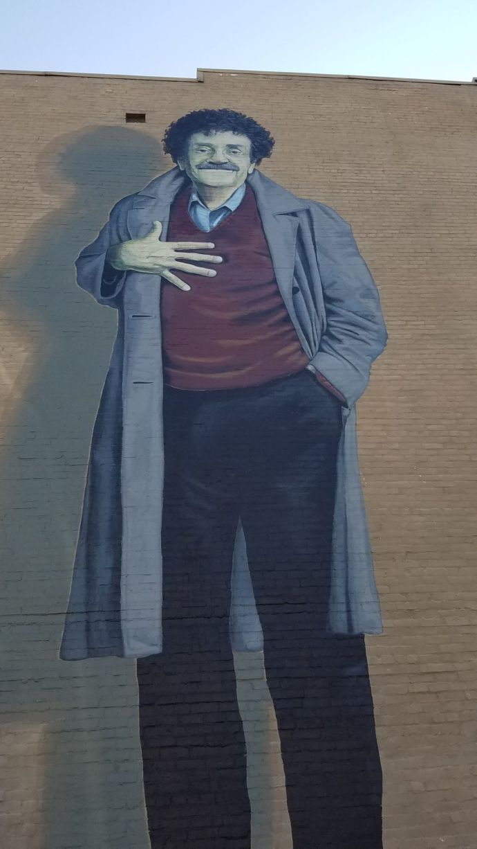 A mural of Kurt Vonnegut on the side of a building in downtown Indianapolis.