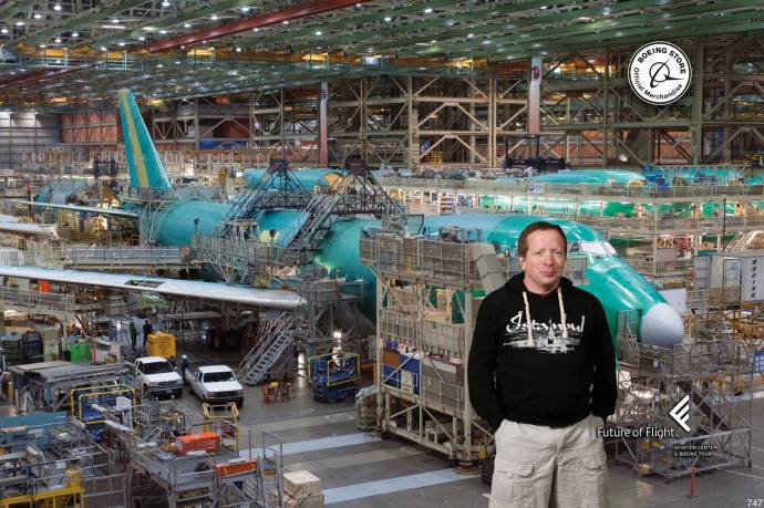 A photo of me inside the Boeing factory (sort of).
