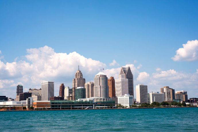 Stock photo of the downtown skyline of Detroit, one of my probably U.S. travel destinations for 2017.